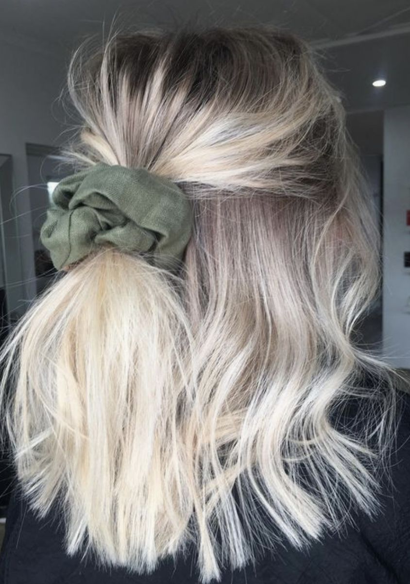 short blonde balayage hair into a velvet scrunchie | cute updos for short hair ideas #hair #hairideas #shorthair #balayage