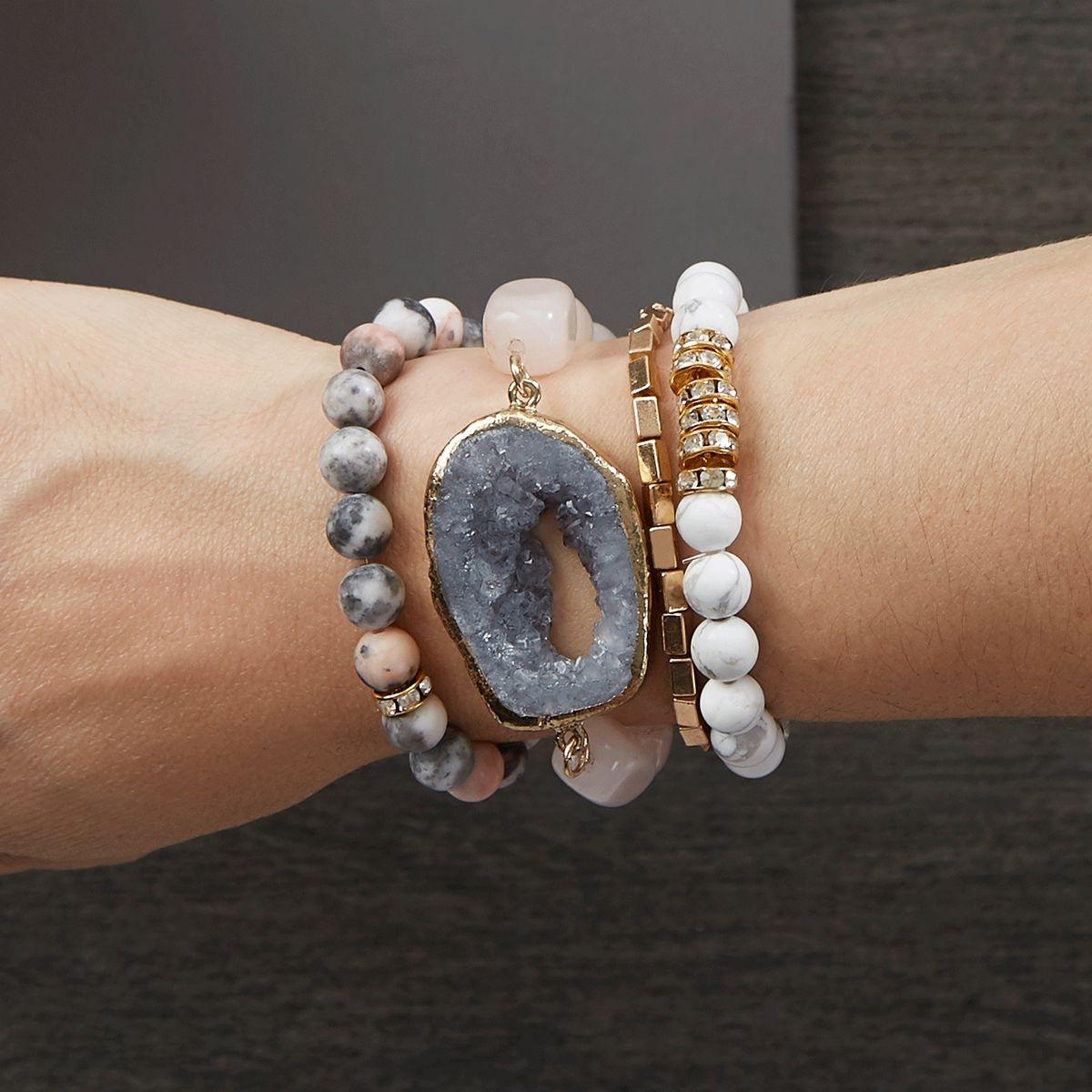 Bead Landing™ Signature Grey Druzy Stacked Stretch Bracelets