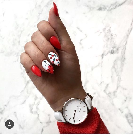 Nice red cherry nails design