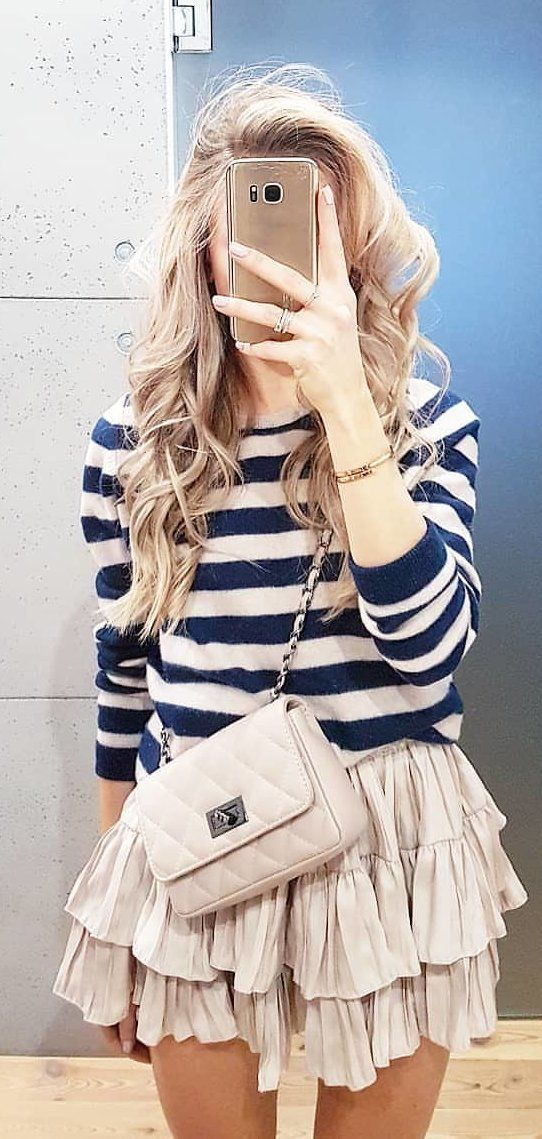 white and blue stripe long-sleeved shirt #spring #outfits
