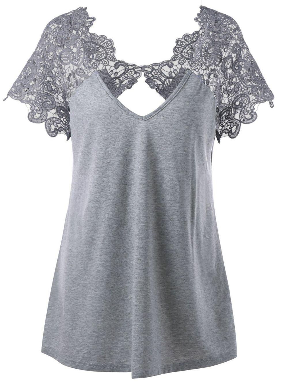 Cutwork Lace Trim T-Shirt