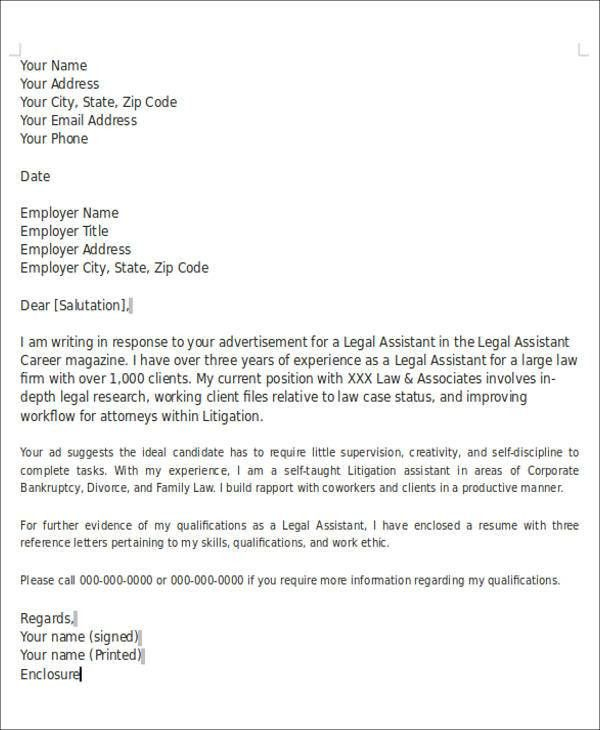 Writing A Legal Cover Letter Legal Cover Letter, Best Legal - enclosure cover letter