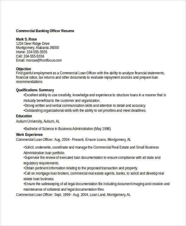 commercial loan officer sample resume cvresumeunicloudpl - Loan Officer Resume Examples