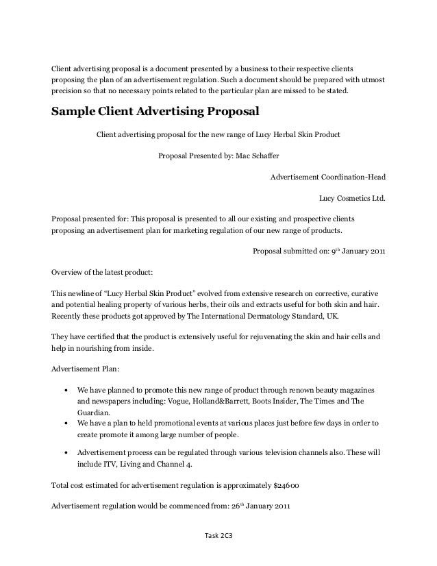 Client Proposal Sample Example Seo Proposal For Client, Sample - advertising proposal template
