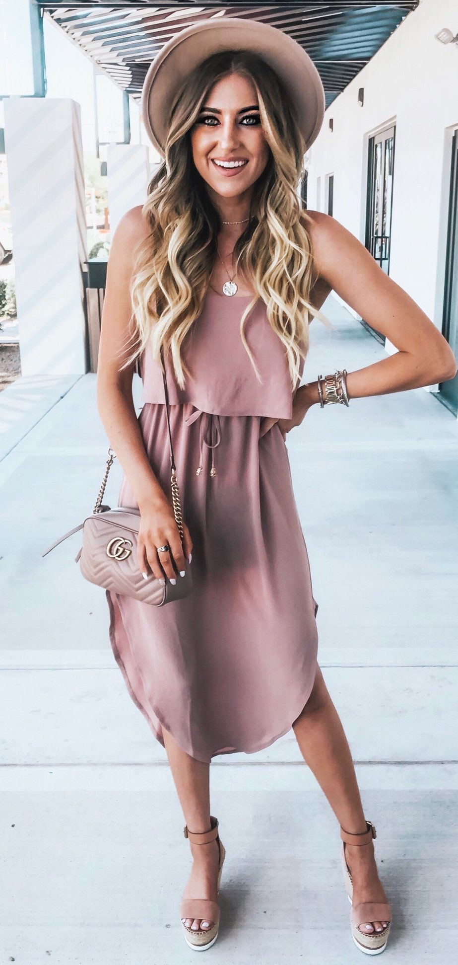 taupe sleeveless scoop-neck dress #spring #outfits