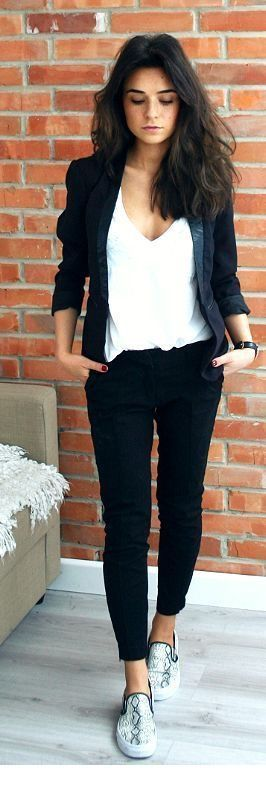 Black V-neck top, jacket and pants