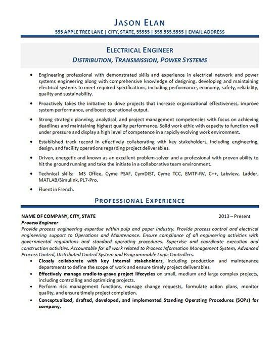 Electrical Engineering Resume Template Electrical Engineer Resume