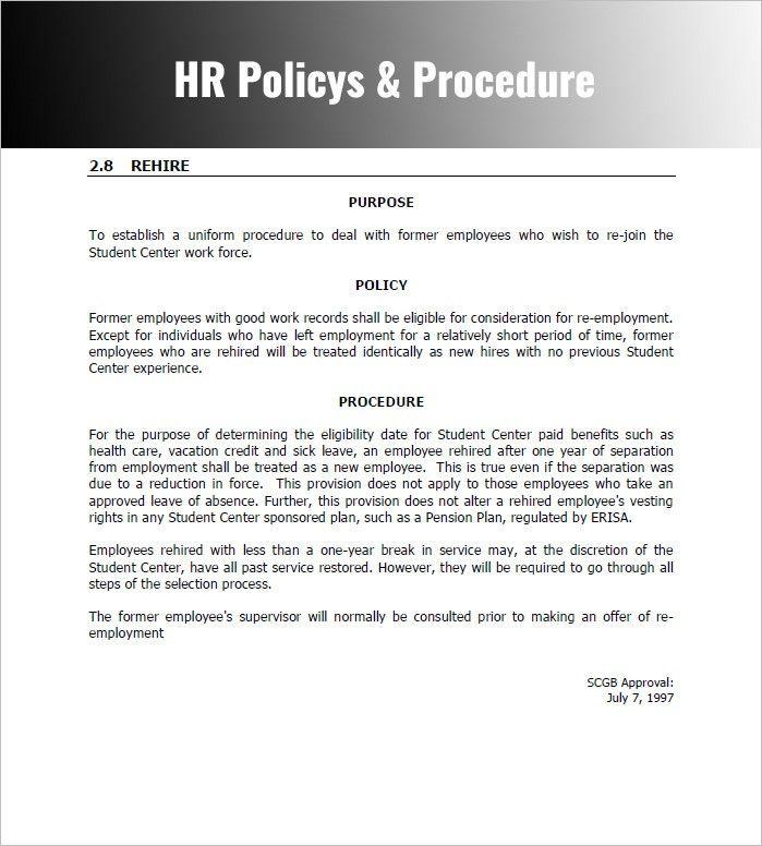 Procedure Manual Template Free Sample Procedure Manual 7 - staff manual template
