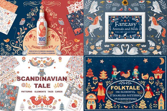 FOLK ART Bundle by Irina Skaska on @creativemarket