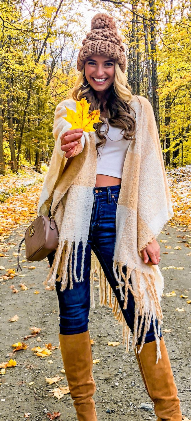 beige scarf with fringe