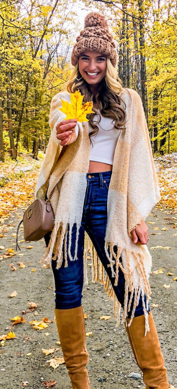 beige scarf with fringe