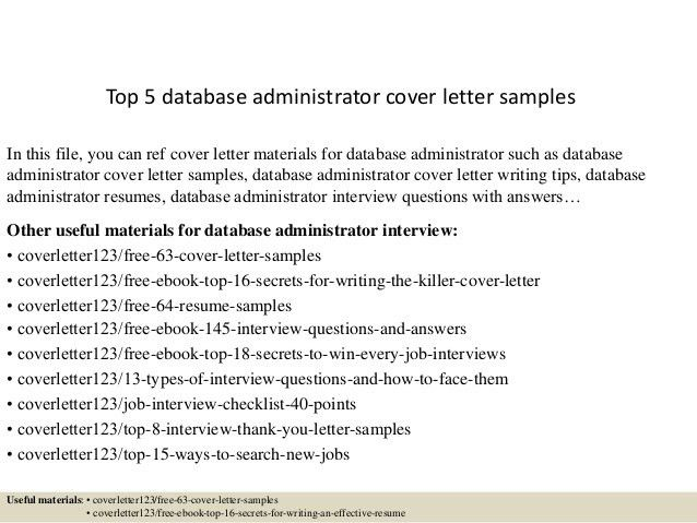 ... Database Administrator Cover Letter Top 5 Database Administrator   Housing  Administrator Cover Letter ...