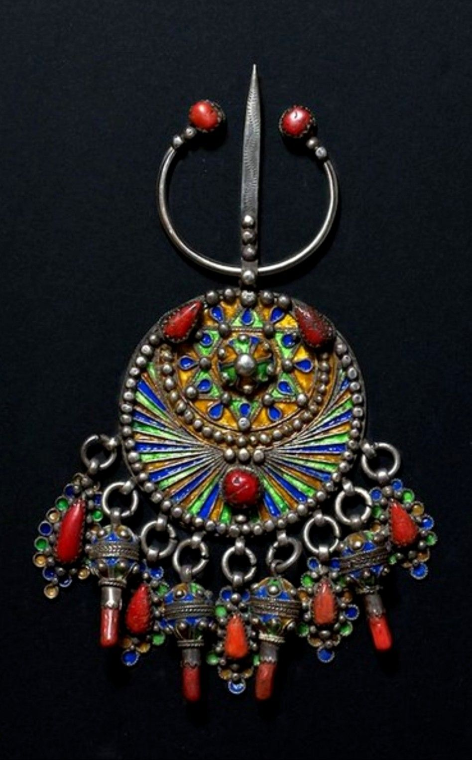 Berber Silver And Coral Brooch Morocco Tribal Jewelry Fantasy