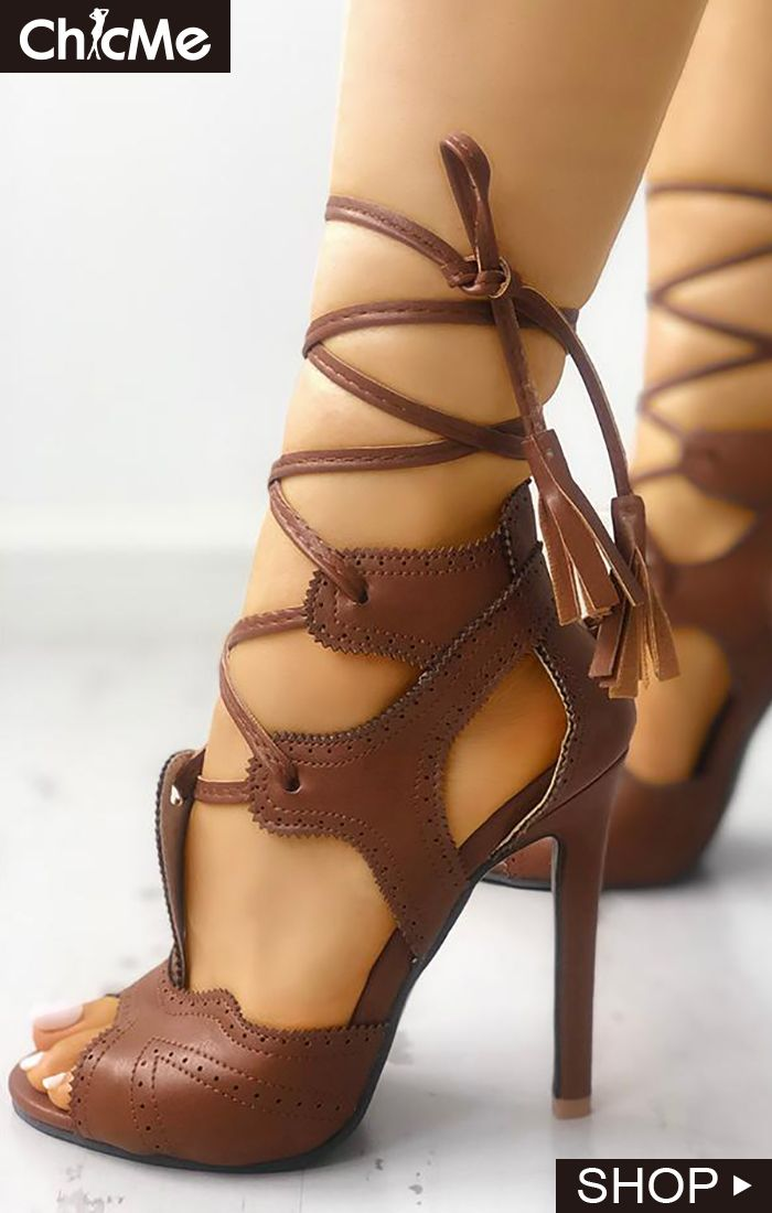 PU Hollow Out Lace-up Thin Heeled Sandals