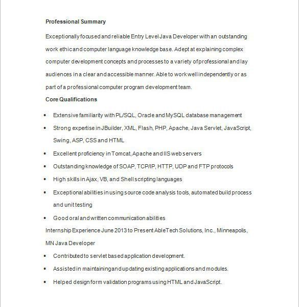 full stack developer resume