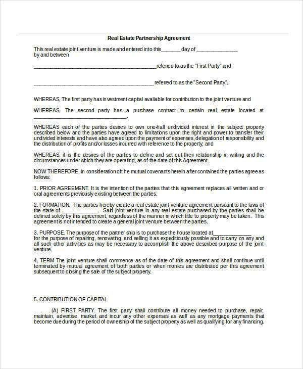 Real Estate Operating Agreement Notes Mortgages Operating - real estate partnership agreement