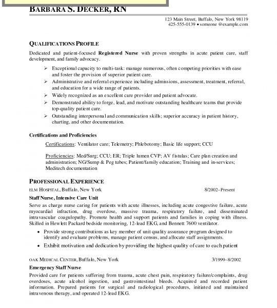 Rn Med Surg Resume Examples - Examples of Resumes