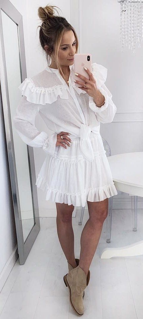 white long-sleeved mini dress #spring #outfits