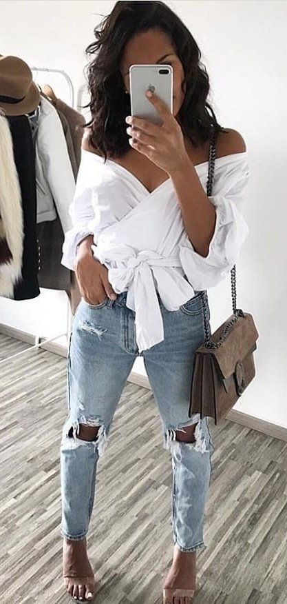 white open-shoulder shirt #spring #outfits