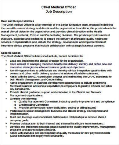 Amazing Chief Medical Officer Job Description Images - Best Resume ...