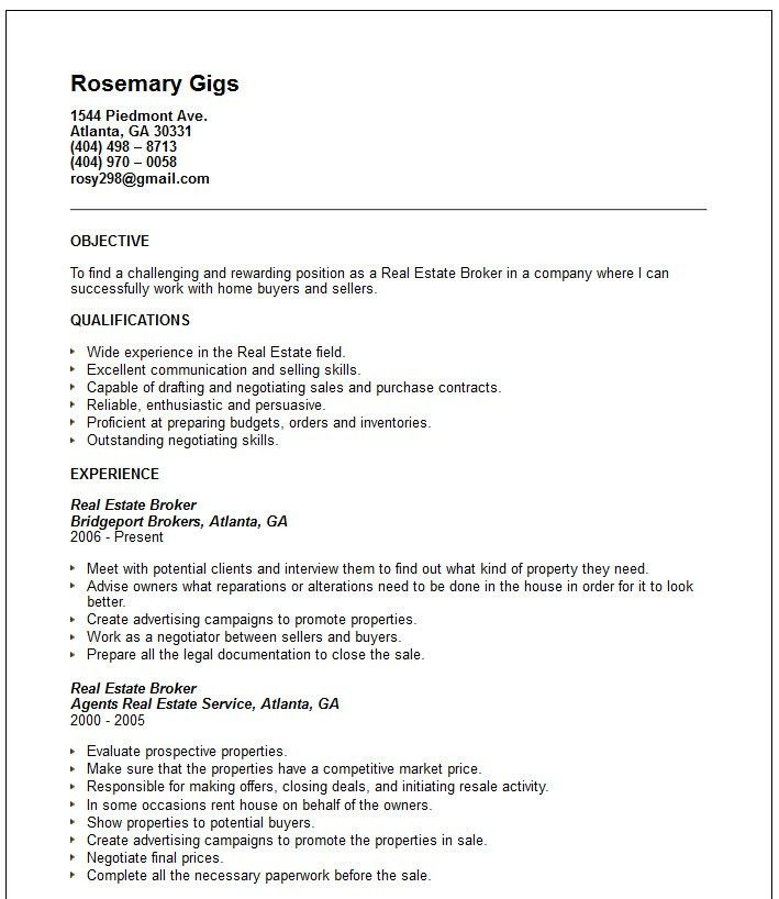 Real Estate Broker Resume Real Estate Broker Resume Samples - real estate resume examples