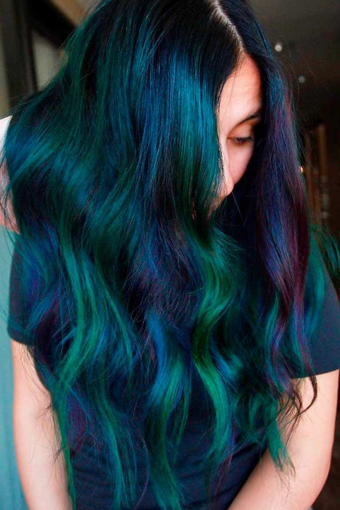 Gothic Mermaid #colorfulhair #hairhighlights ★ Looking for the latest green hair ideas? In our guide, we've put together the best options to match any taste, from light pastel mint balayage on a short bob to dark and bright emerald ombre on long locks. #glaminati #lifestyle #greenhair