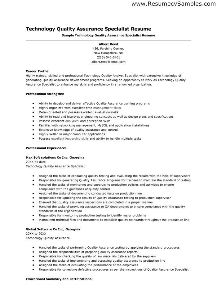 qa resume samples qa resume templatebillybullock quality