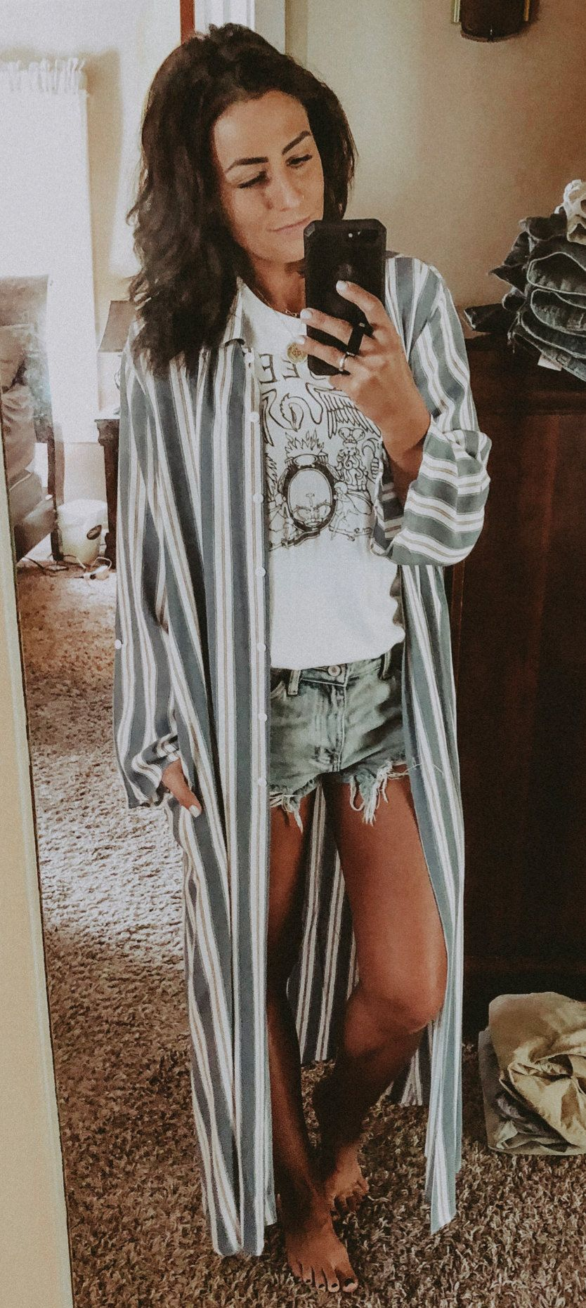 white-and-gray striped open long-sleeved long cardigan #summer #outfits