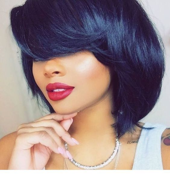 Short black hair and big red lips