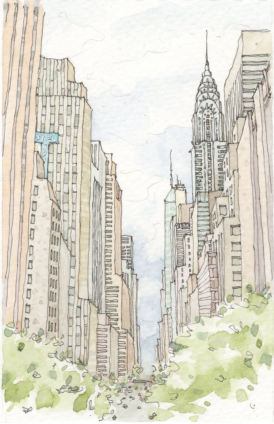 nycinspiration:  sketchdrawingsbyasketchgirl:  New York City Watercolor   www.newyorkinspiration.com