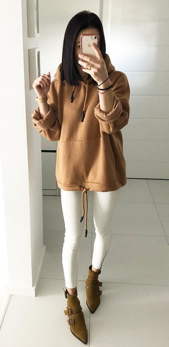 brown pullover hoodie #spring #outfits