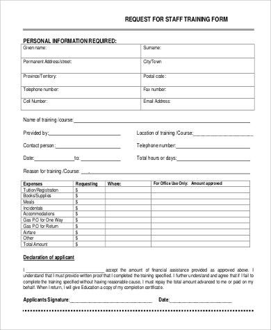... Training Form Sample Training Evaluation Form 15 Download Free   Training  Request Form ...