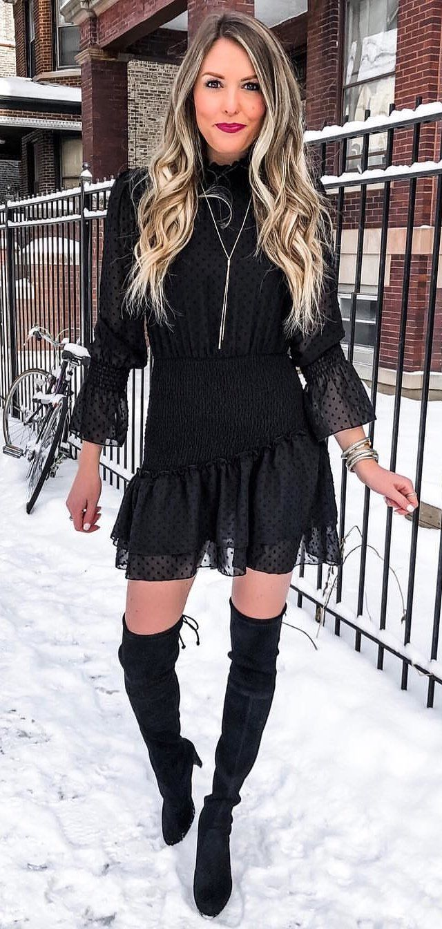 black trumpet-sleeved mini dress #spring #outfits