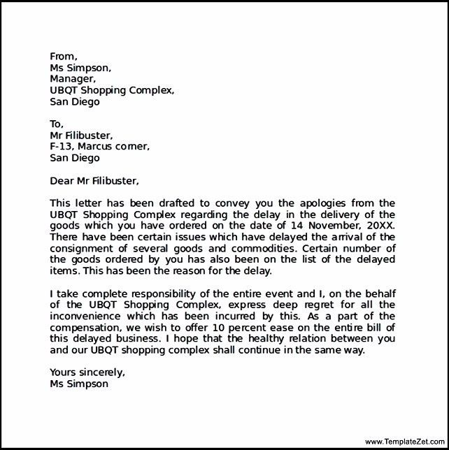 Sample Apology Sample Apology Letter Semi Formal Letters Business
