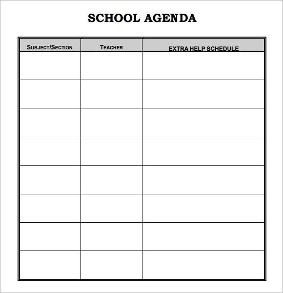 Daily Agenda Template Daily Planner Template Free Printable Daily - school agenda template