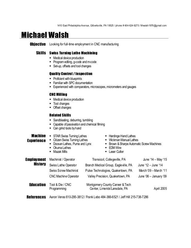 machinist sample resume machinist resume