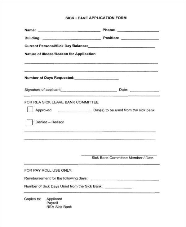 Medical Leave Application Leave Application For Medical Treatment - medical leave form
