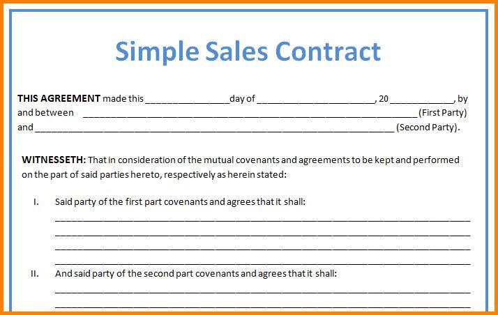 Simple Sales Contract simple sales contract template contract - auto sales contract template