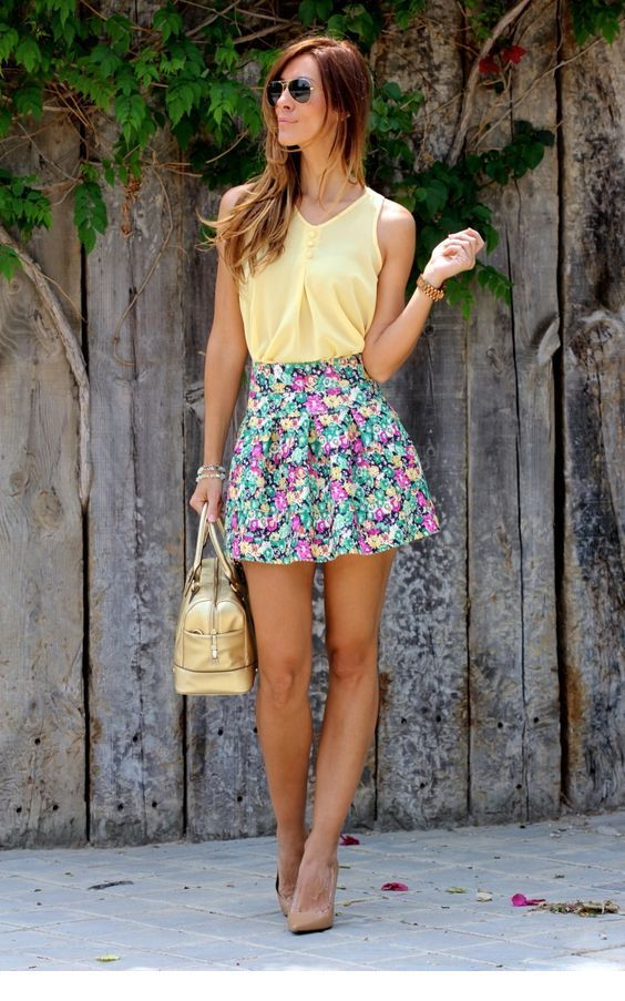 Cute light yellow top and printed skirt