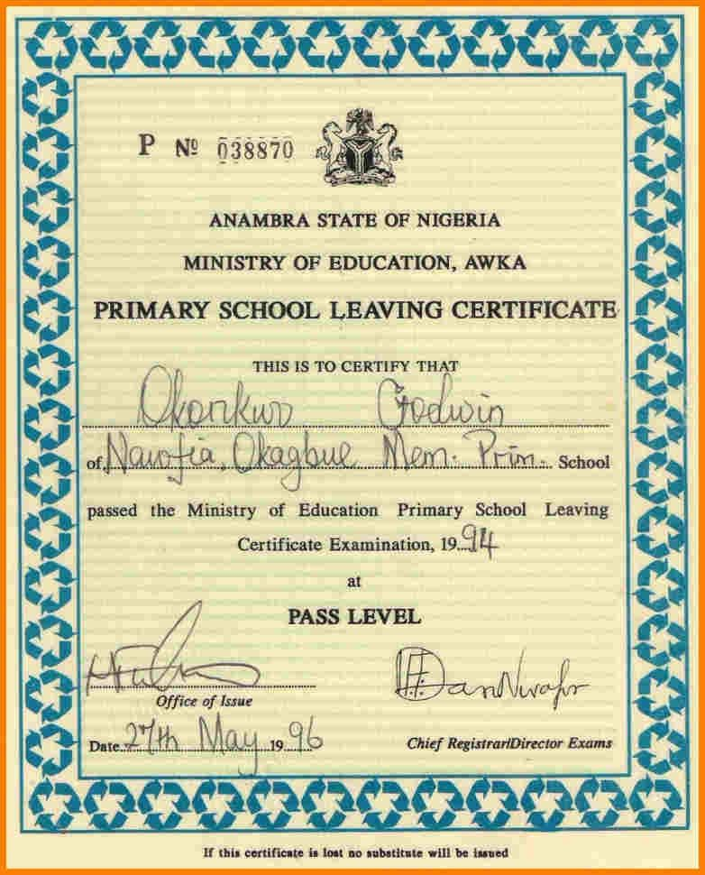 School Certificate Format 8 Primary School Leaving Certificate - school certificate templates