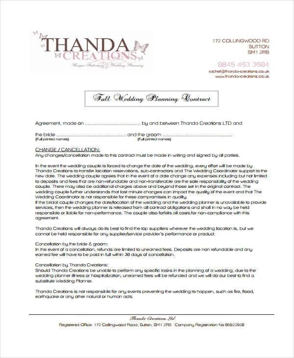 Wedding Planning Contract Templates Fill Online Sample Wedding - agenda template example