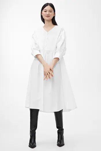 Minimal Style Wide Poplin Dress   Arket