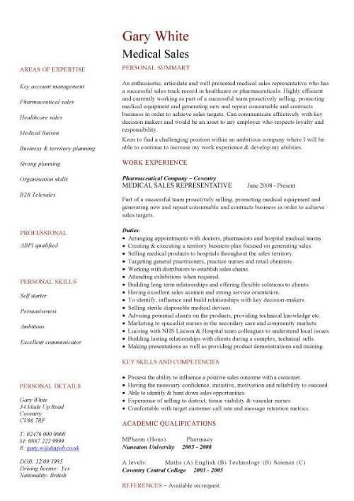 Sample Healthcare Sales Resume Sample Resumes Medical Device - cv example
