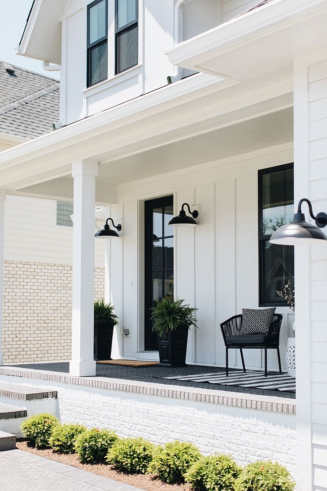 Modern Farmhouse Porch Brick Painted Brick The front porch features painted white brick and pavement in a herringbone pattern Modern Farmhouse Porch Brick Painted Brick Modern Farmhouse Porch Brick Painted Brick Modern Farmhouse Porch Brick Painted Brick #ModernFarmhouse #FarmhousePorch #Brick #PaintedBrick #herringbonebrick #pavement
