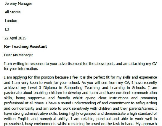 ... Teaching Assistant Cover Letter Example Cover Letter Examples   Instructional  Assistant Cover Letter ...