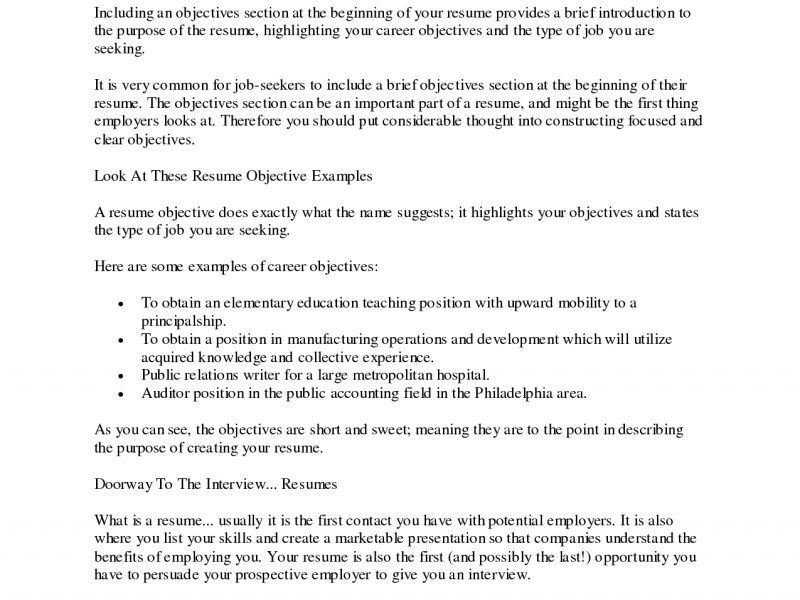 what to type in the objective section of a resumes