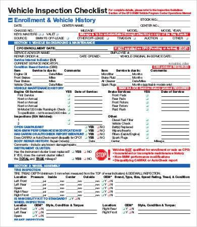 Vehicle Inspection Form Template Sample Vehicle Inspection - sample inspection checklist template