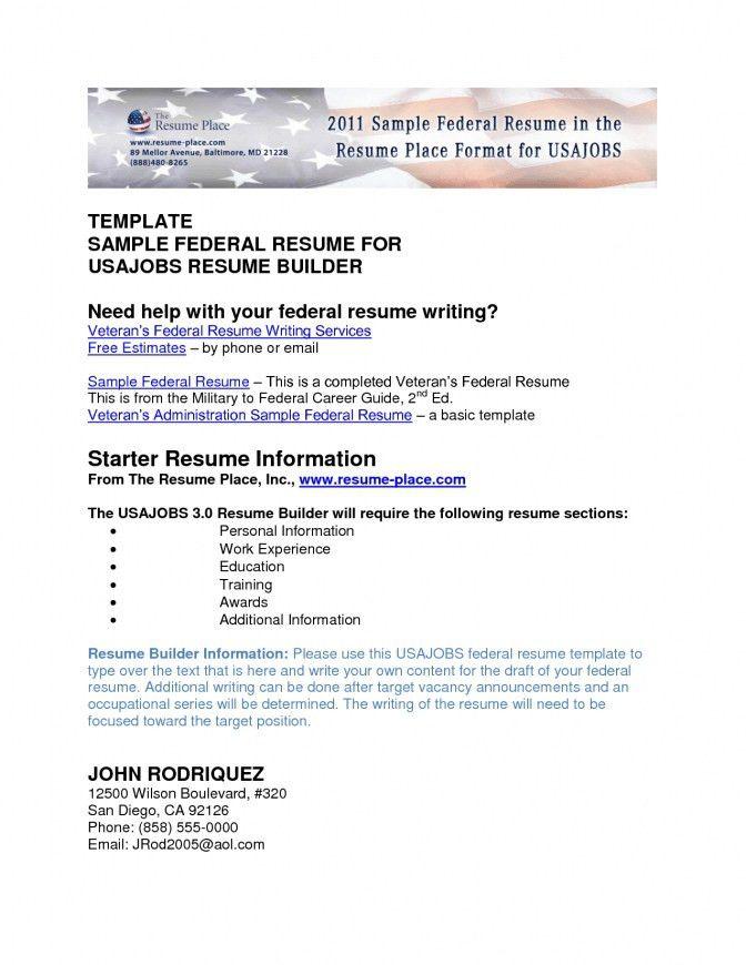 Federal Resume Builder Federal Resume Template 10 Free Word Excel - federal resume examples