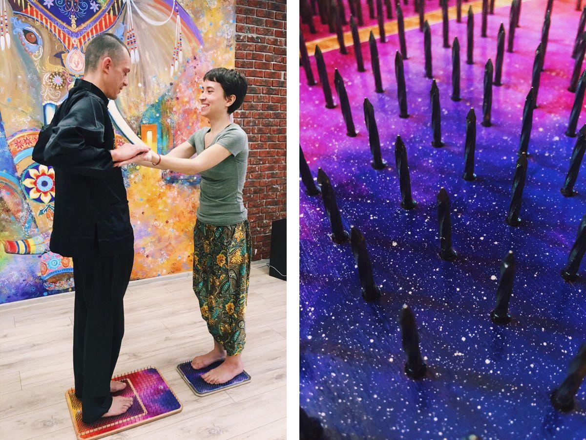 Лиза Ларионова и Кирилл Клименко в студии йоги и танца Акуна Матата