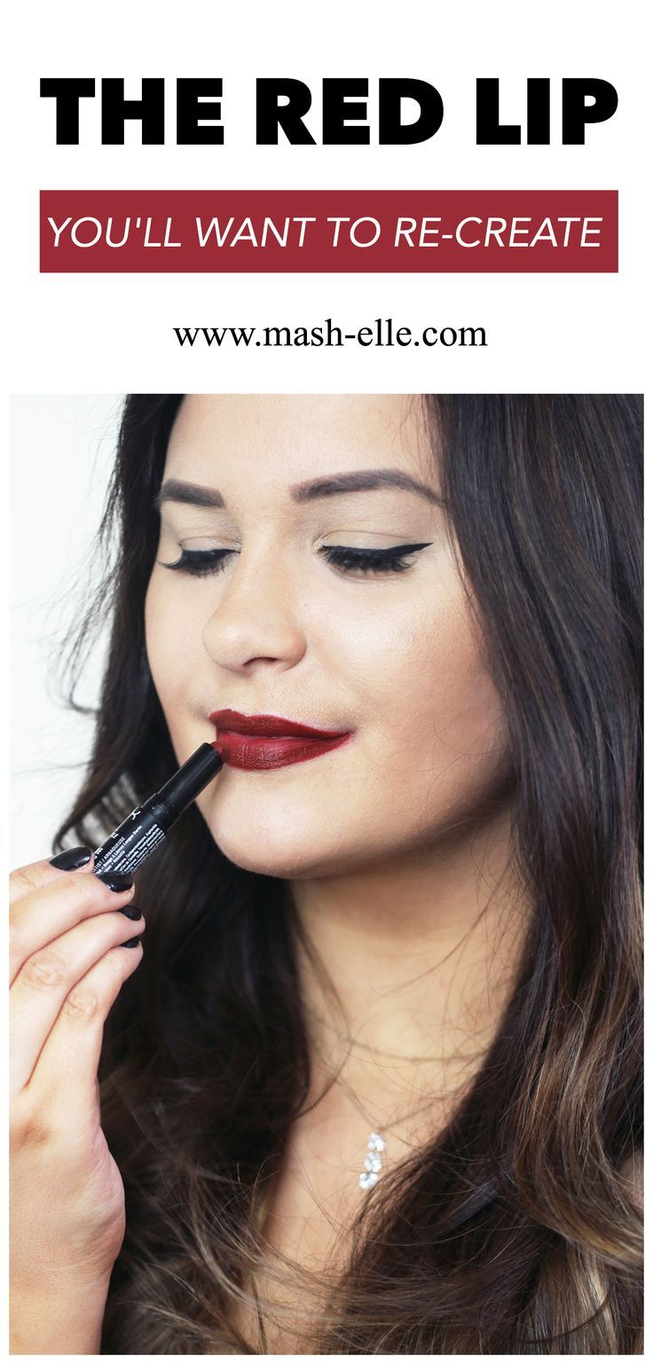 Loving this dark red berry lip! | Beauty blogger Mash Elle shares an easy red glitter lipstick makeup tutorial with @knowcosmetics! #sheKNOWSbeauty #itworksbeautifully #ad
